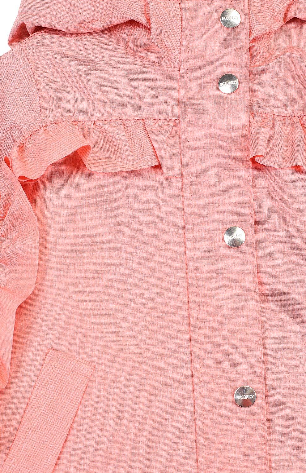 Детский дождевик с капюшоном и оборками GOSOAKY розового цвета, арт. 181.101.239/C0ATED W0VEN MELANGE   Фото 3