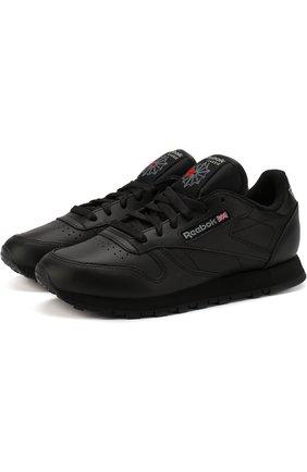 Кожаные кроссовки Classic на шнуровке Reebok черные   Фото №1