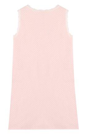 Сорочка в горох с кружевной отделкой Sanetta розового цвета | Фото №1