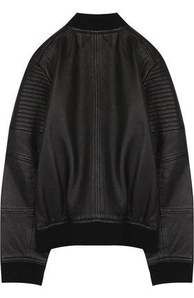 Кожаный бомбер на молнии Karl Lagerfeld Kids черного цвета | Фото №1