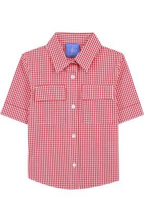 Хлопковая блуза в клетку | Фото №1