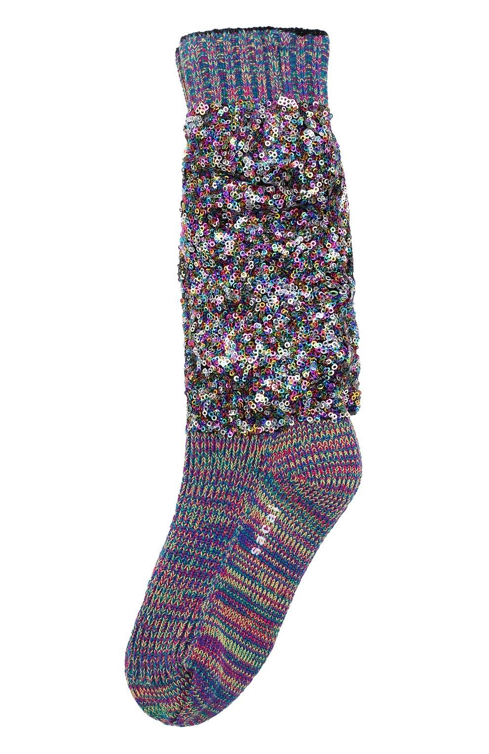 Женские хлопковые носки с пайетками SACAI разноцветного цвета, арт. 18-03895 | Фото 1