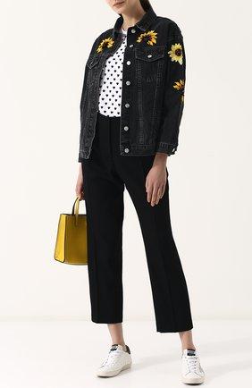 Джинсовая куртка свободного кроя с контрастной вышивкой Dalood черная   Фото №1