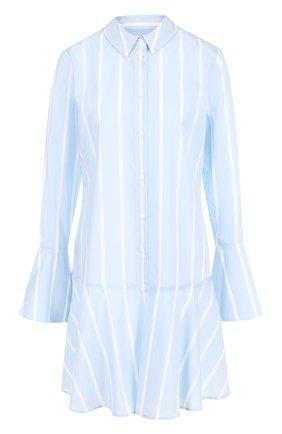 Хлопковое платье-рубашка с расклешенными рукавами и оборкой Equipment голубое | Фото №1