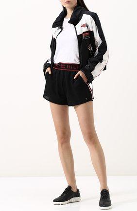 Перфорированные мини-шорты с эластичным поясом Tommy Hilfiger черные | Фото №1