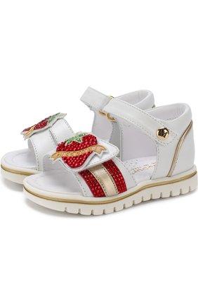 Кожаные сандалии с застежками велькро и стразами | Фото №1