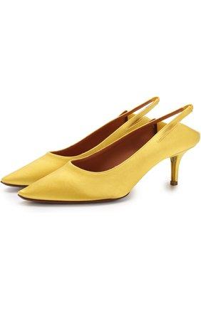 Атласные туфли на каблуке kitten heel | Фото №1