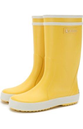 Детские резиновые сапоги Aigle желтого цвета | Фото №1
