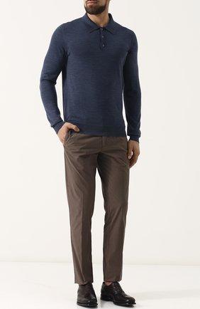 Мужское шерстяное поло с длинными рукавами ISAIA синего цвета, арт. MG7050/YP005 | Фото 2