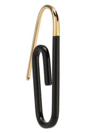 Фигурная серьга Paperclip Hillier Bartley черные | Фото №1