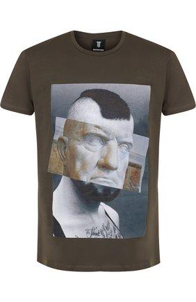 Хлопковая футболка с принтом Diego Venturino хаки   Фото №1