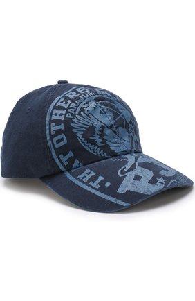 Хлопковая бейсболка Parajumpers темно-синего цвета   Фото №1