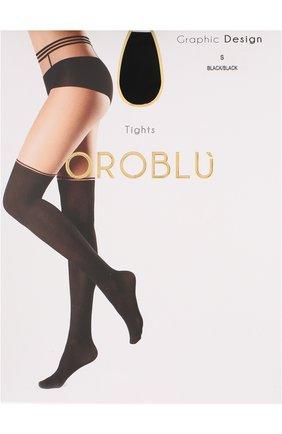 Женские колготки с контрастной отделкой OROBLU черного цвета, арт. V0BC65106 | Фото 1