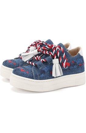 Детские текстильные кеды с вышивкой и декоративной шнуровкой с кисточками ERMANNO SCERVINO синего цвета, арт. 55685/18-27 | Фото 1