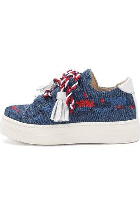 Детские текстильные кеды с вышивкой и декоративной шнуровкой с кисточками ERMANNO SCERVINO синего цвета, арт. 55685/18-27 | Фото 2