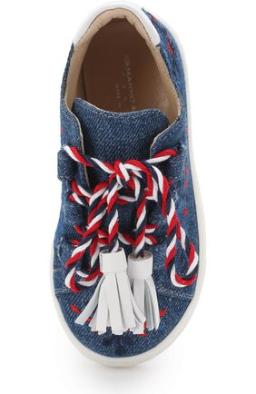 Детские текстильные кеды с вышивкой и декоративной шнуровкой с кисточками ERMANNO SCERVINO синего цвета, арт. 55685/18-27 | Фото 4