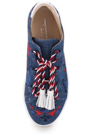 Детские текстильные кеды с вышивкой и декоративной шнуровкой с кисточками ERMANNO SCERVINO синего цвета, арт. 55685/36-41 | Фото 4