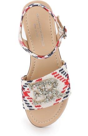 Детские текстильные сандалии на ремешке с кристаллами ERMANNO SCERVINO разноцветного цвета, арт. 55691/36-41   Фото 4