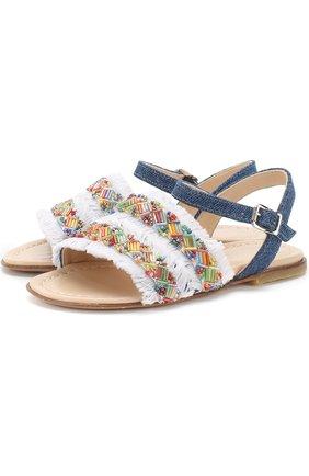 Текстильные сандалии на ремешке с бахромой и вышивкой бисером | Фото №1