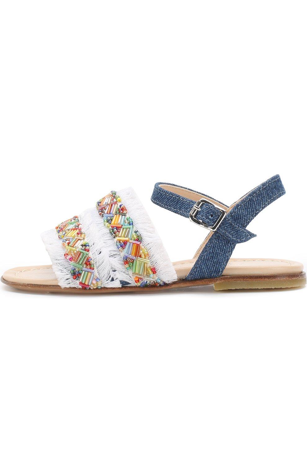 Текстильные сандалии на ремешке с бахромой и вышивкой бисером | Фото №2