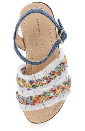 Текстильные сандалии на ремешке с бахромой и вышивкой бисером | Фото №4