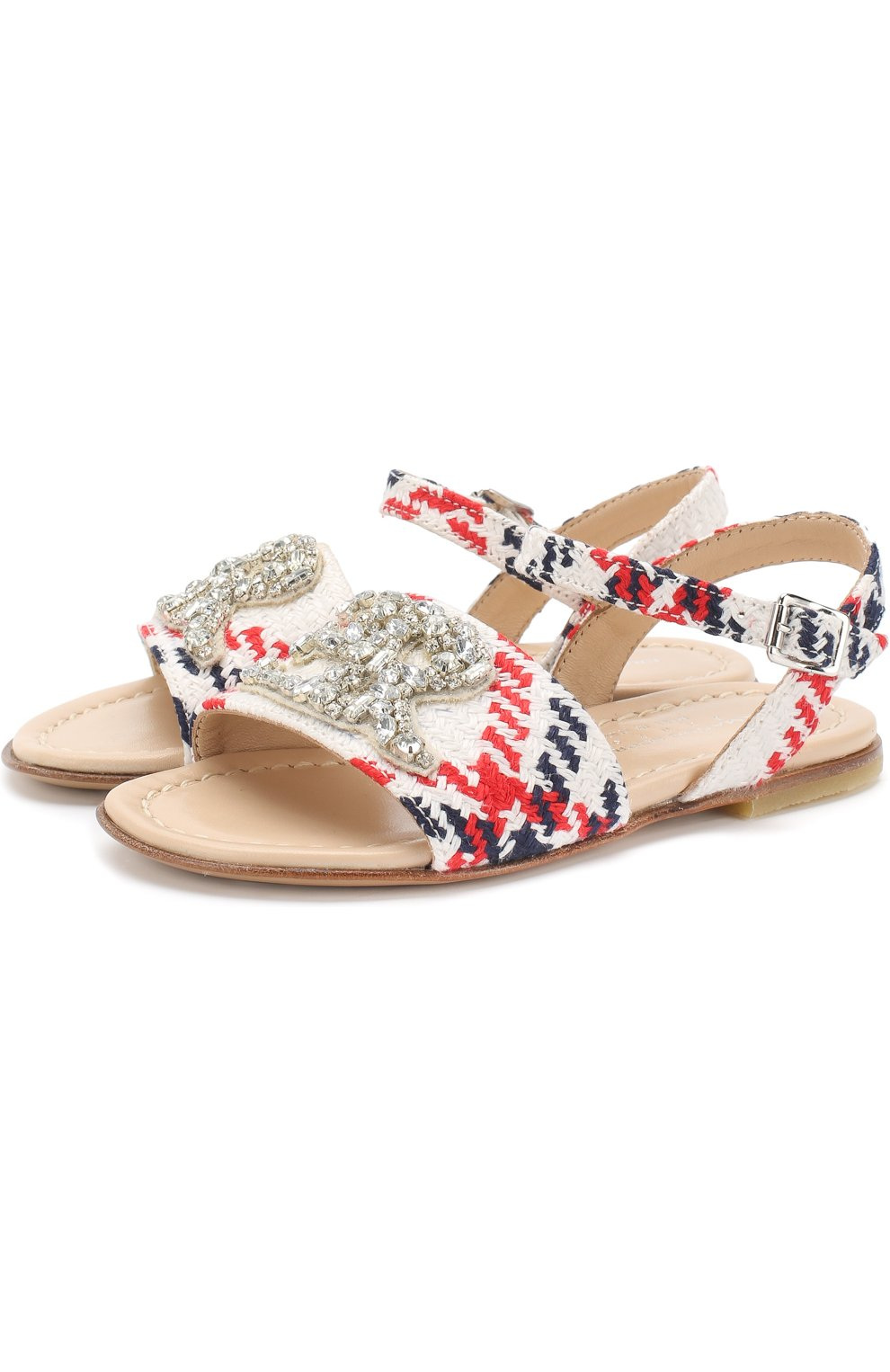 Текстильные сандалии на ремешке с кристаллами | Фото №1