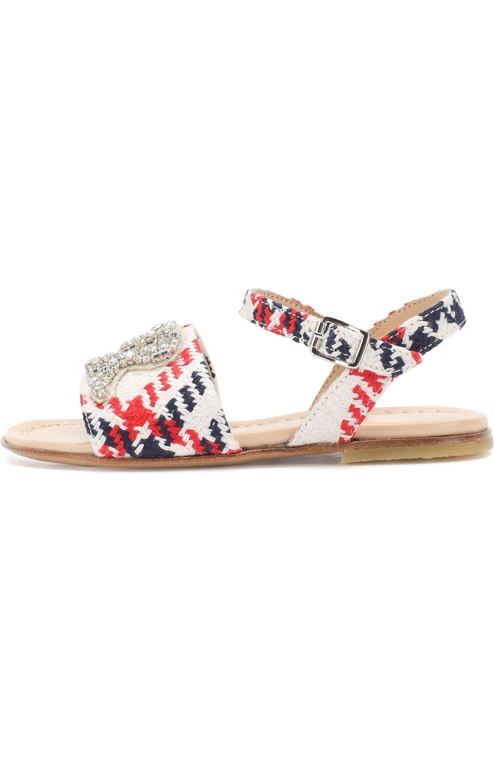 Текстильные сандалии на ремешке с кристаллами | Фото №2