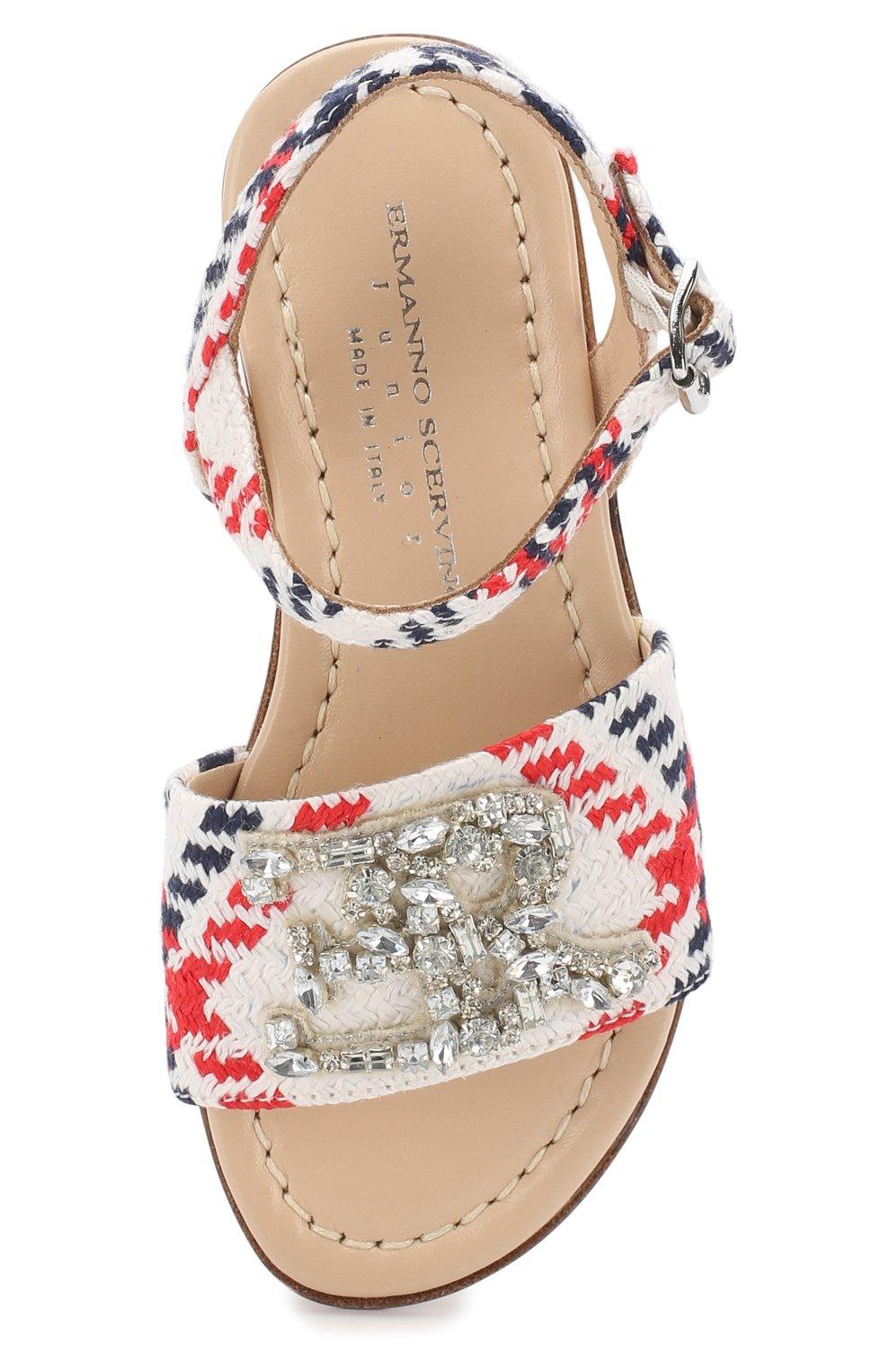 Текстильные сандалии на ремешке с кристаллами | Фото №4