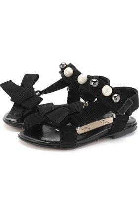 Текстильные сандалии с застежками велькро и жемчужинами   Фото №1
