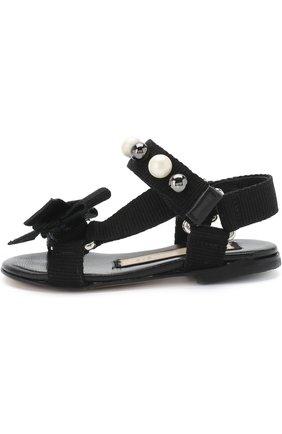 Текстильные сандалии с застежками велькро и жемчужинами   Фото №2