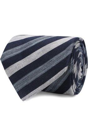 Мужской галстук из смеси льна и шелка BRIONI темно-синего цвета, арт. 063I00/P7461 | Фото 1