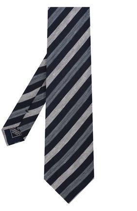 Мужской галстук из смеси льна и шелка BRIONI темно-синего цвета, арт. 063I00/P7461 | Фото 2