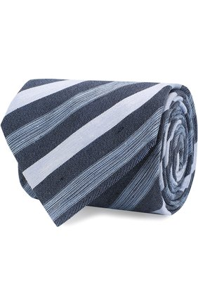 Мужской галстук из смеси льна и шелка BRIONI голубого цвета, арт. 063I00/P7461   Фото 1