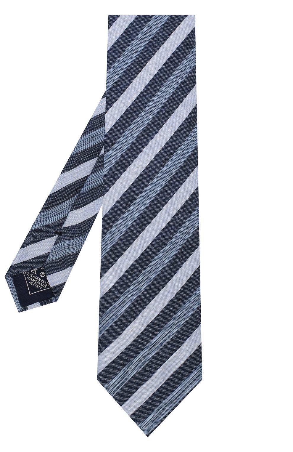 Мужской галстук из смеси льна и шелка BRIONI голубого цвета, арт. 063I00/P7461   Фото 2