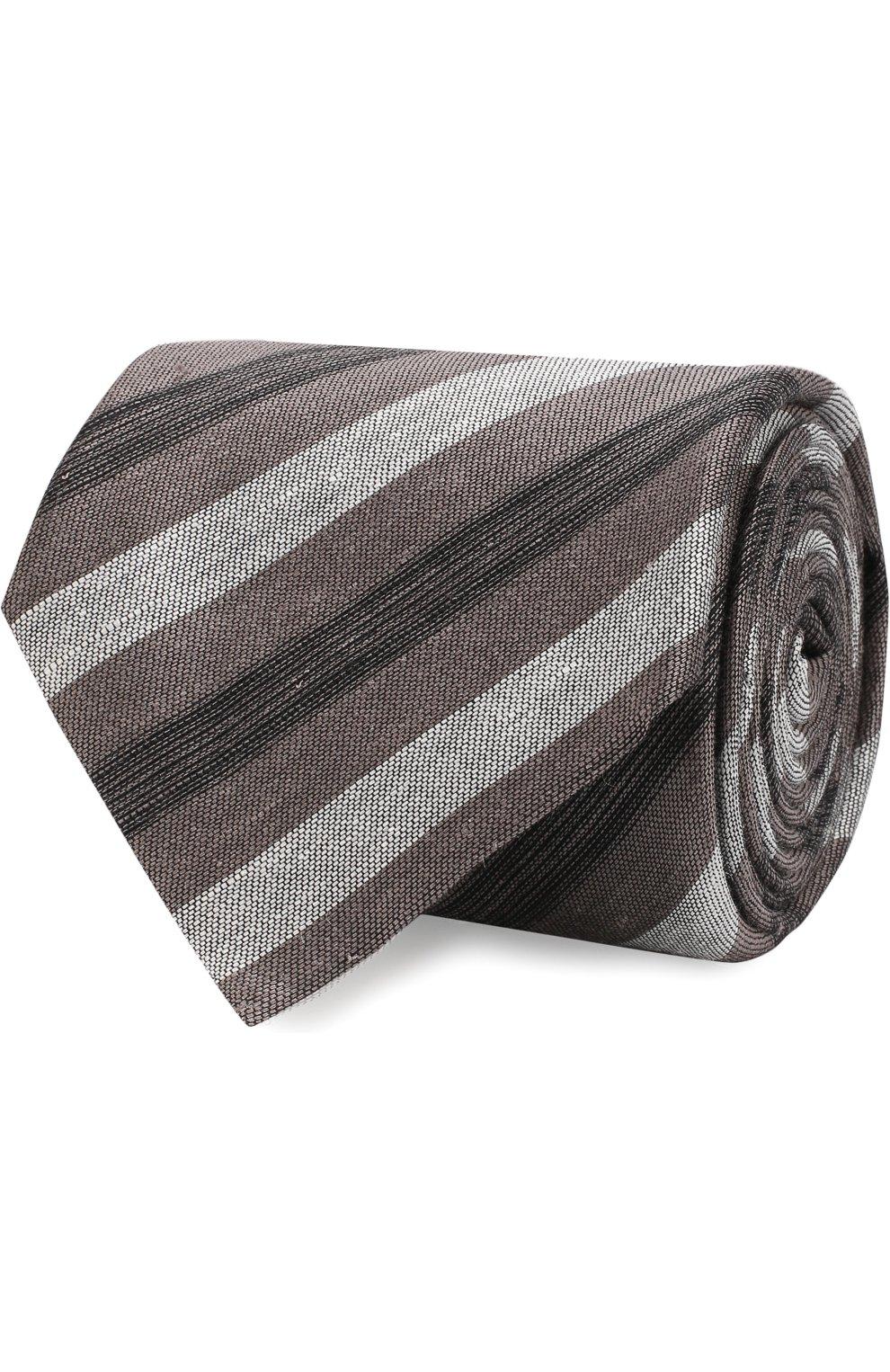 Мужской галстук из смеси льна и шелка BRIONI коричневого цвета, арт. 063I00/P7461 | Фото 1