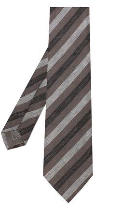 Мужской галстук из смеси льна и шелка BRIONI коричневого цвета, арт. 063I00/P7461 | Фото 2