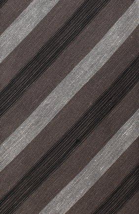 Мужской галстук из смеси льна и шелка BRIONI коричневого цвета, арт. 063I00/P7461 | Фото 3