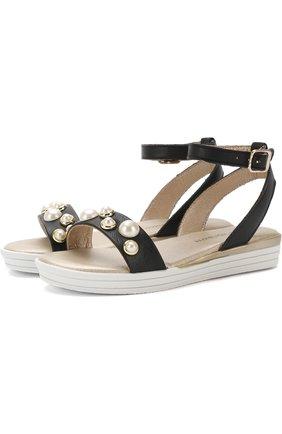 Кожаные сандалии с ремешком на щиколотке и жемчужинами   Фото №1