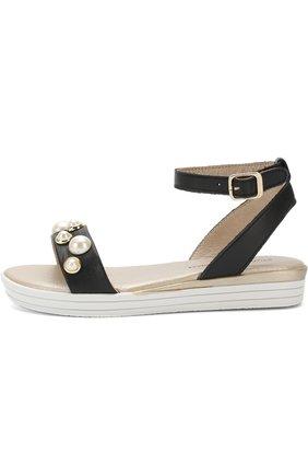 Кожаные сандалии с ремешком на щиколотке и жемчужинами   Фото №2