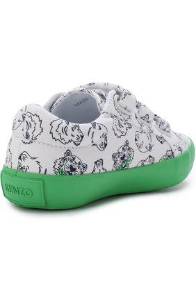 Детские текстильные кеды с застежками велькро и контрастной подошвой KENZO зеленого цвета, арт. KL81518 | Фото 3
