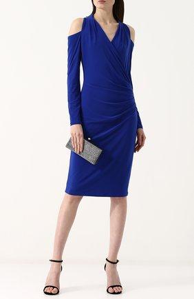 Однотонное платье-миди с разрезами на плечах и драпировкой DKNY синее | Фото №1
