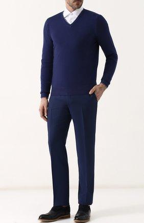 Кожаные оксфорды с брогированием и замшевой отделкой Antonio Maurizi темно-синие | Фото №1