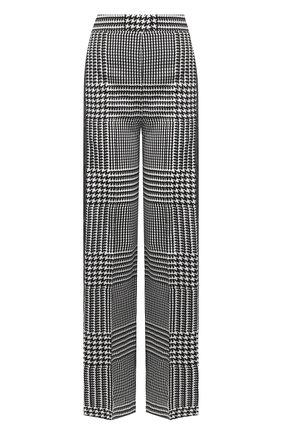 Расклешенные шелковые брюки с лампасами | Фото №1