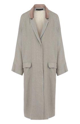 Хлопковое пальто свободного кроя с карманами | Фото №1