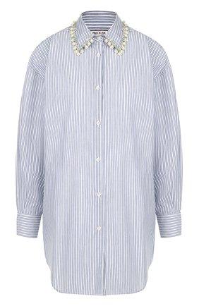 Хлопковая блуза свободного кроя с декорированным воротником | Фото №1
