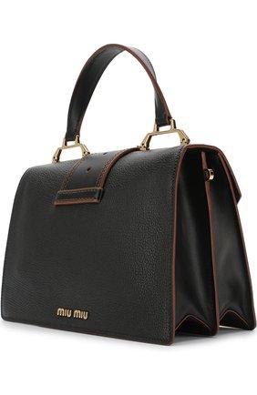Сумка-тоут с брошью Miu Miu черная цвета | Фото №1