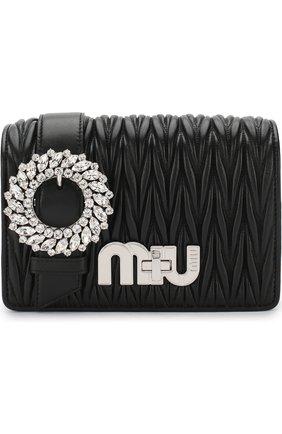 Сумка с брошью на цепочке Miu Miu черная | Фото №1