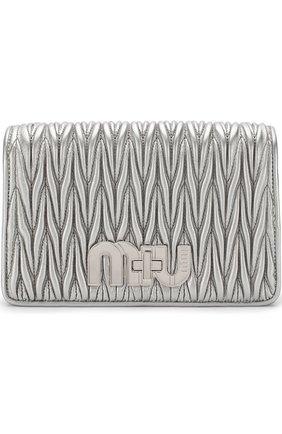 Кожаная сумка на цепочке Miu Miu серебряная | Фото №1