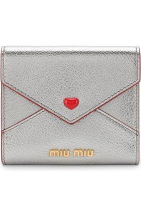 Кожаный кошелек с клапаном Miu Miu серебряного цвета | Фото №1