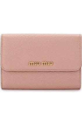 Кожаный кошелек с клапаном Miu Miu розового цвета | Фото №1